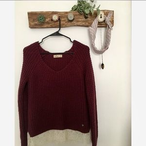Lace-Trimmed Burgundy Sweater — NWOT